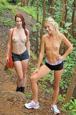 Lezzie bff's Melody & Lena nude hike in Hawaii -