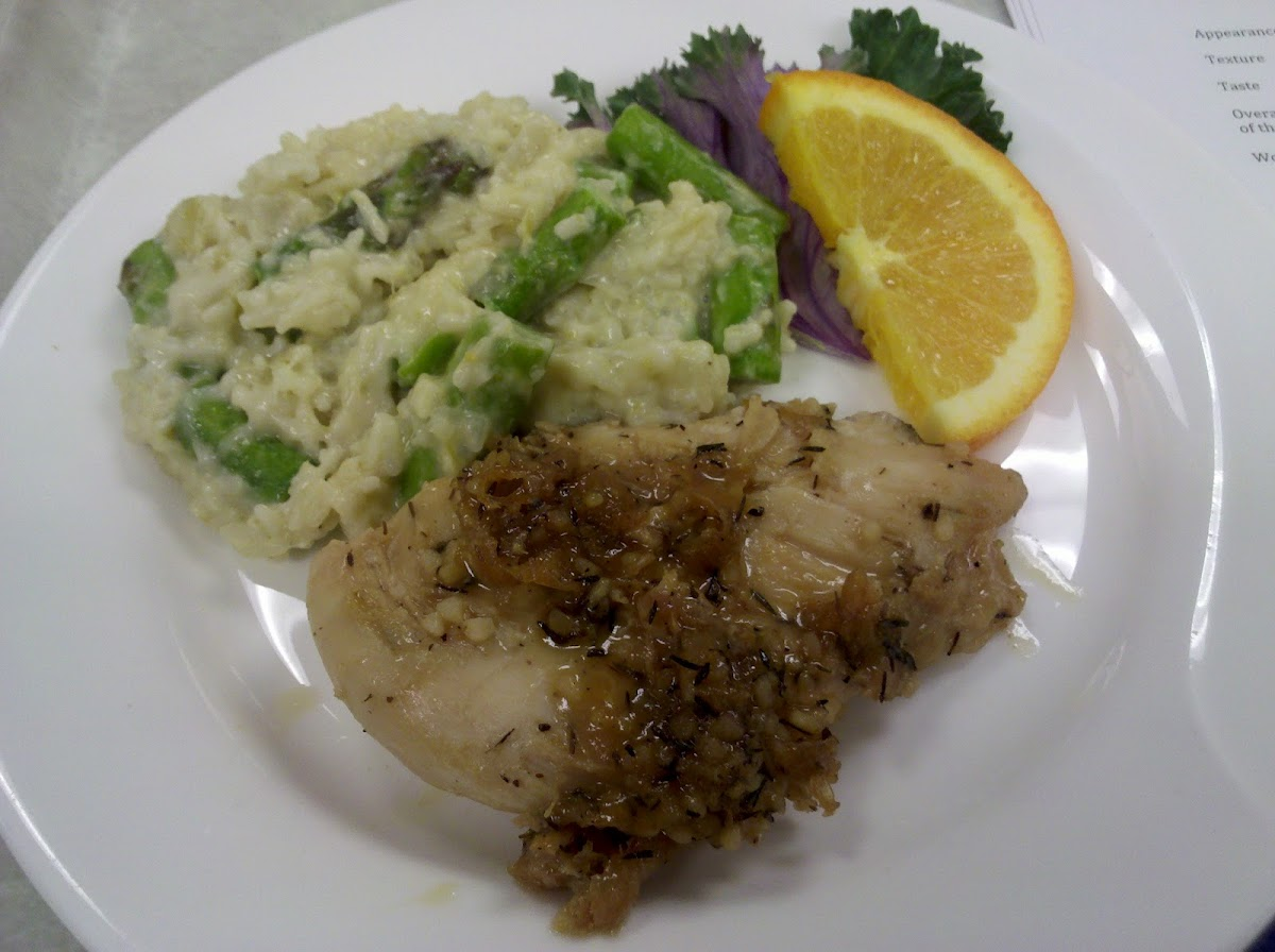 Maple-Mustard Glazed Chicken with Spring Asparagus Risotto