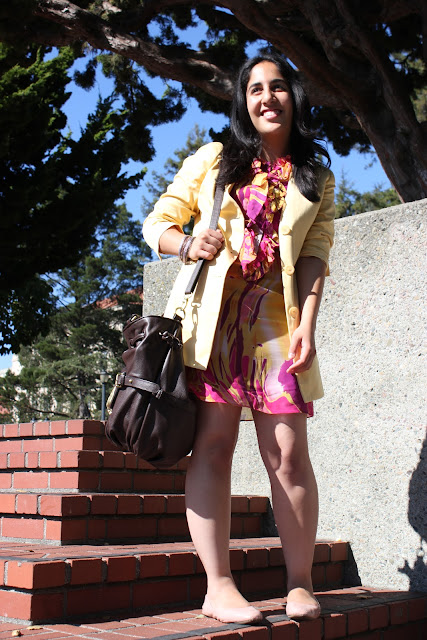 Blazer and Tie-Dye Dress