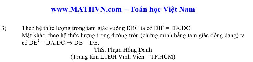 Dap an mon Toan vao lop 10 tai Da Nang 2012