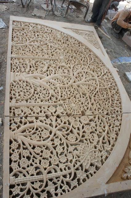 Stone Jali Elevation : Sandstone hand carving works sidi sayed ki jali ahmedabad