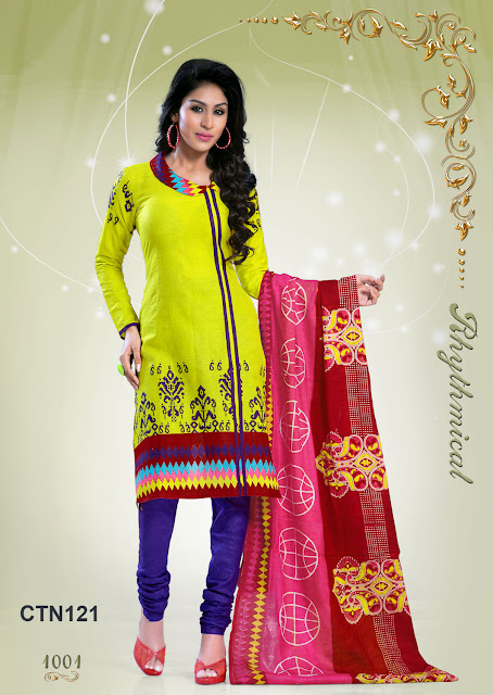 New Collection Cotton Churidar Dress Material