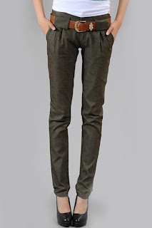 Romwe Pleading Pockets Elasticated Slim Army-Green Jeans