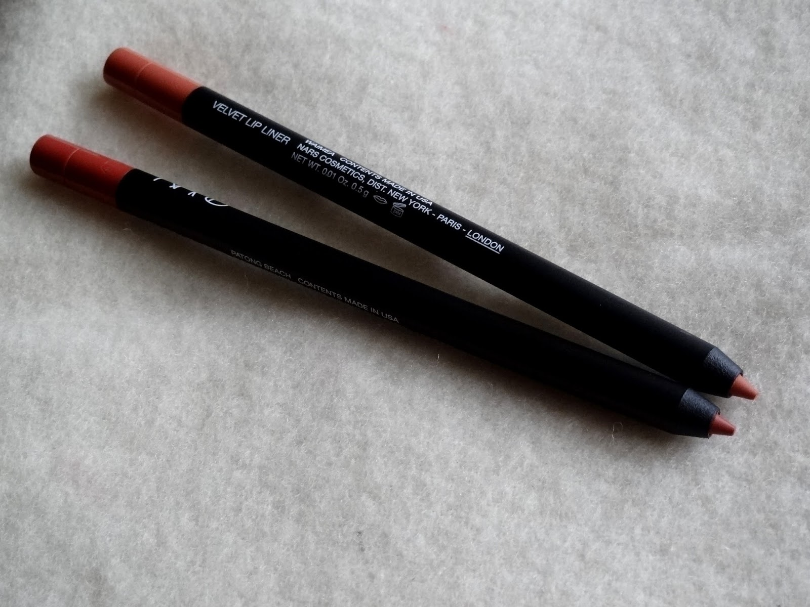 NARS Velvet Lip Liners Waimea and Patong Beach