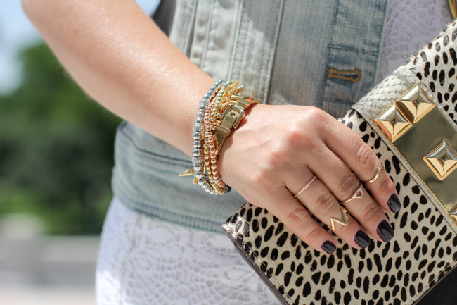 bracelets and vince camuto animal print clutch