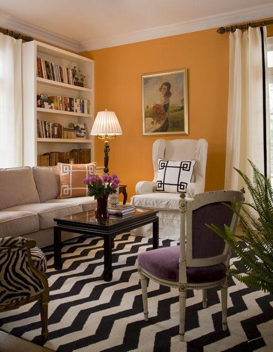 living room interior design with orange color and living room interior