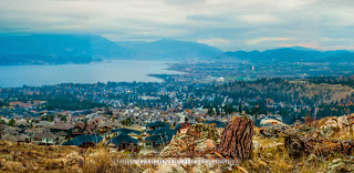 Making a DSLR photo to mimic that of a picture from a large format camera showing a wide angle view of Kelowna from Mountaintop by professional photographer Chris Gardiner