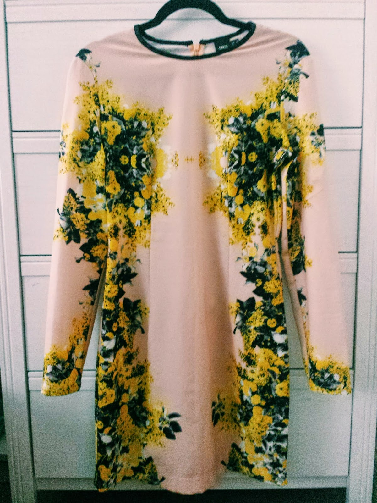 ASOS Nude & Yellow Floral Bodycon Dress