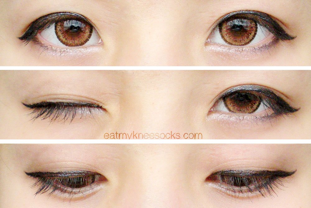 More photos of the EOS Cat Eyes Brown circle lenses from Love Shoppingholics, modeled on dark brown eyes.