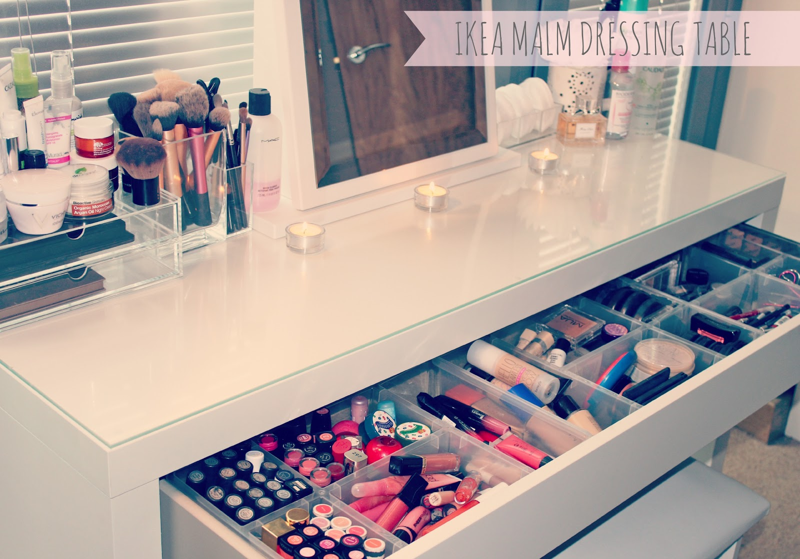 Ikea MALM dressing table-Ikea Antonius Basket Inserts-Makeup Storage-Makeup Collection- & My Makeup Storage // IKEA Malm Dressing Table | Sweet Fashion Make-Up