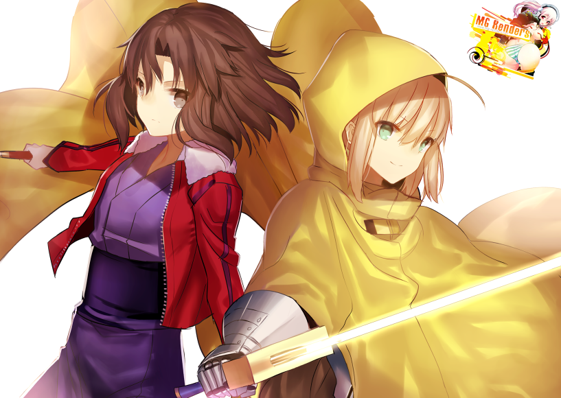 Tags: Anime, Render,  Artoria Pendragon,  Fate series,  Fate stay night,  Kara no Kyoukai,  Ryougi Shiki,  Saber,  PNG, Image, Picture