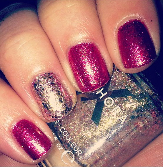 ... Last week, I used it as an accent nail and layered it over Zoya Gloria