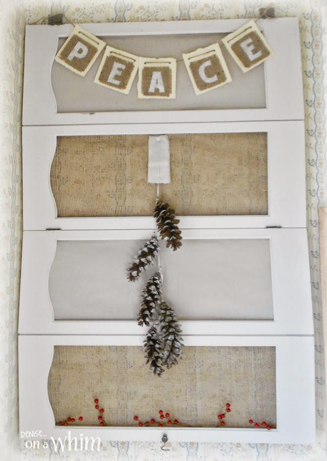 Chrismtas Shutter wall Decor with Burlap and Drop Cloth from Denise on a Whim