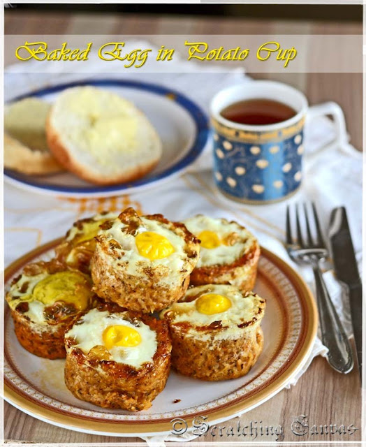 Baked Egg nest with cheesy potato nest