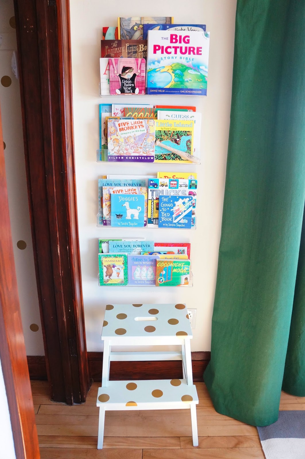 Green Baby Boy Nursery Clear Bookshelves