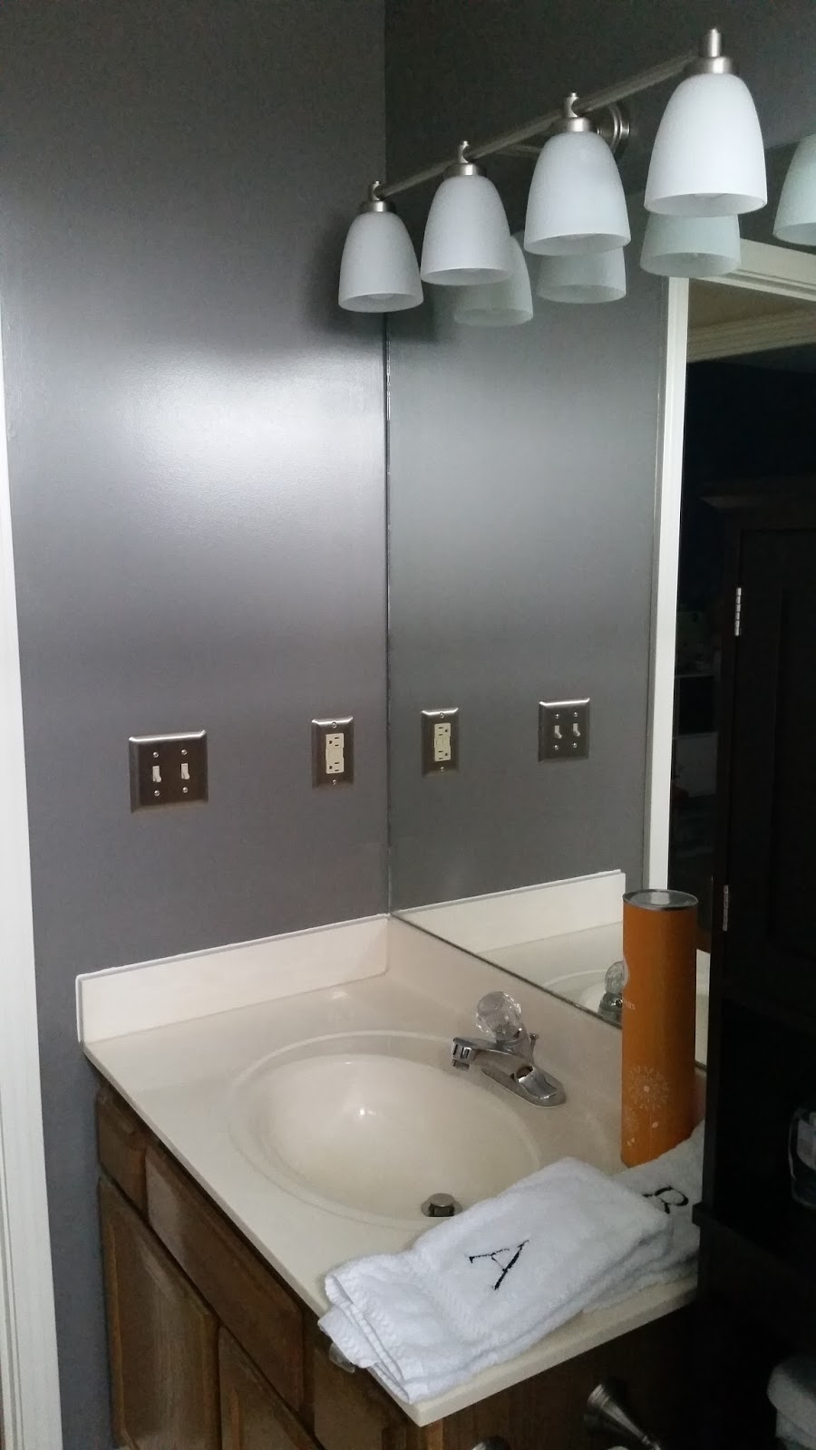 Lighting a match in the bathroom
