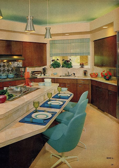 MidCeylon-tury: RETRO KITCHEN INSPIRATION on turquoise kitchen color ideas, turquoise retro furniture, red retro kitchen ideas, turquoise home decor ideas,