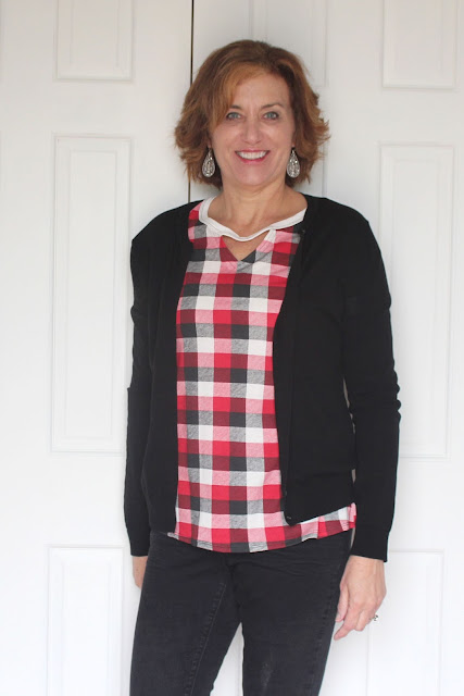 Indiesew Neptune tee with triangle cutouts using a plaid knit layered with black cardigan