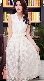 Deluxe White Embroidered Lace Sleeveless Midi Dress