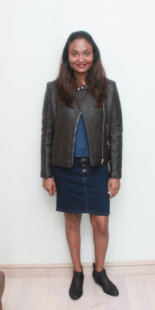 A Denim Skirt & A Leather Jacket