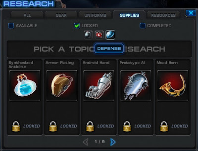 Supplies Research Tab