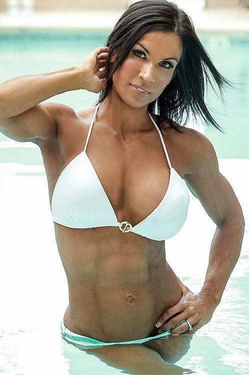 Allison moyer in red bikini muscular back 8