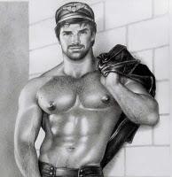 Varones de cuero masculino gay y militares