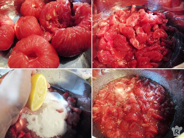 Pela y trocea los tomates