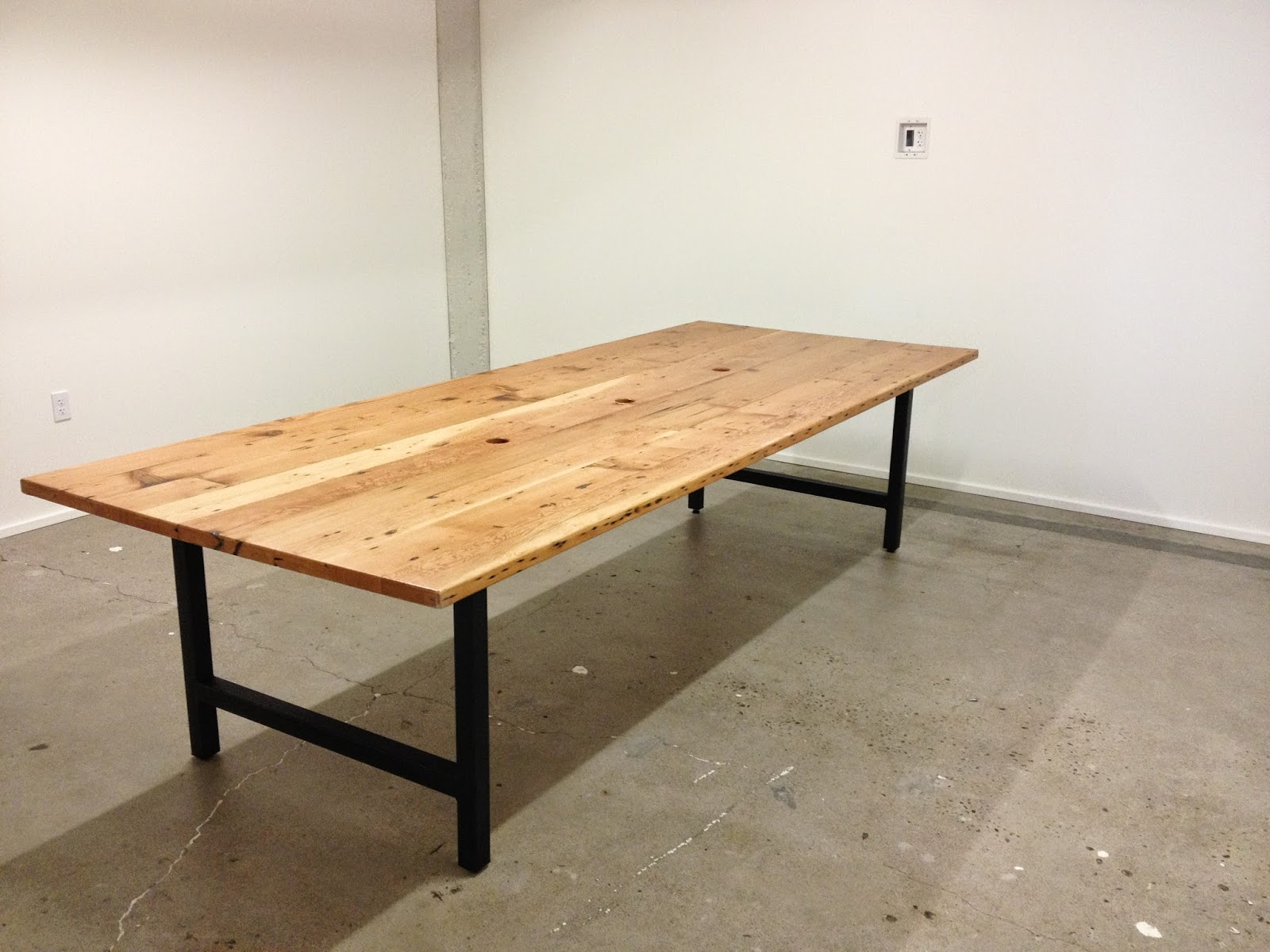 Pnw Reclaimed Douglas Fir Conference Table With Steel Legs - 4 foot conference table