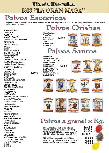 CATÁLOGO ESOTÉRICO POLVOS ESOTÉRICOS