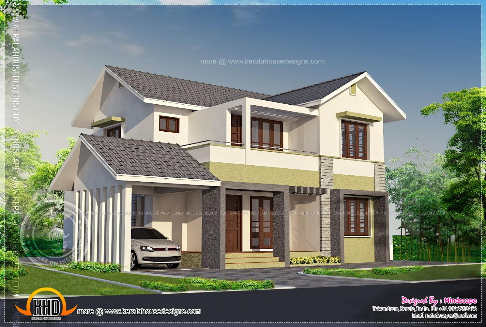 Elevation of 2000 square feet residence kerala home for Best 2000 sq ft home design