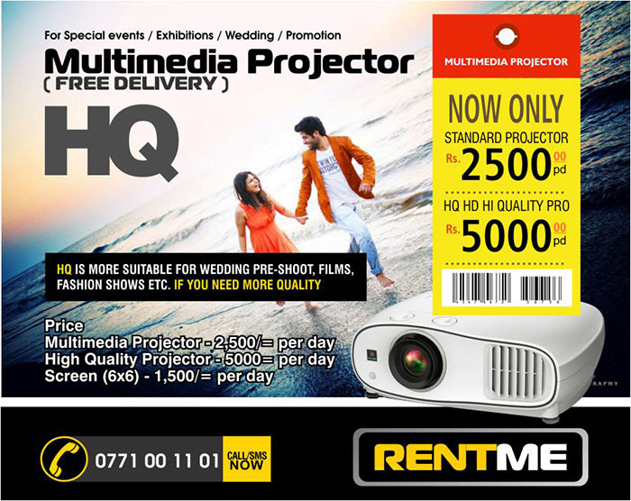 We have one of the best HQ Projectors to show your wedding pre-shoots.  Wide range of Multimedia Projector for Rent.  HQ is more suitable for wedding pre-shoot, films, fashion shows etc. If you need more quality.  Price Multimedia Projector - 2,500/= per day High quality Projector - 5,000/= per day  Screen (6x6) - 1,500/= per day  Requirements Rent for the required period Official request letter if a organization ID Copy of the carrying person  Special rates for long term rents Call or SMS 0771 00 11 01