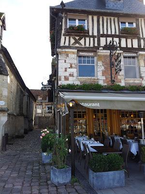 Old buildings, now restaurants, in Honfleur, Normandy France