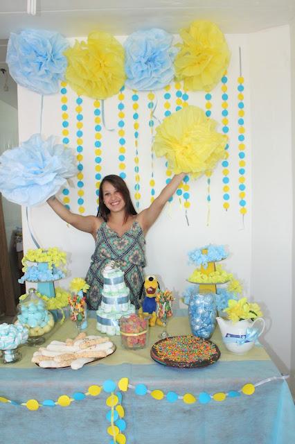 chá de bebê azul e amarelo