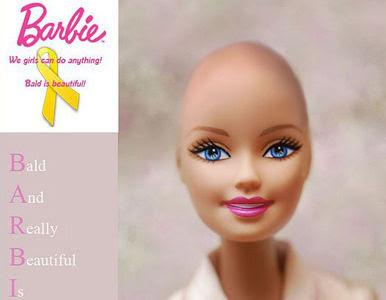 Barbies carecas para crianças com câncer