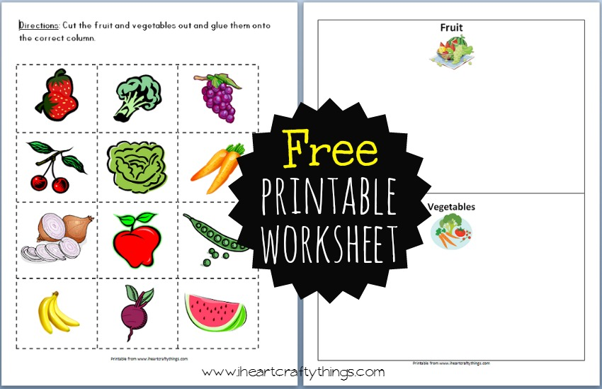 Preschool Fruit and Vegetable Sort | I Heart Crafty Things