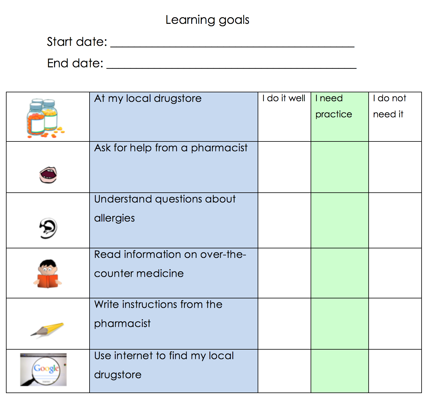 teach2learnesl goal setting for learning management in adult esl list of goals learners will have to identify one goal to start this choice will depend on different factors such as individual priorities in terms of