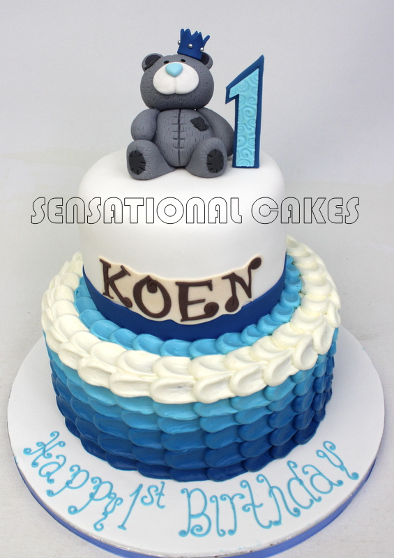 The Sensational Cakes Scale Ombre Blue Theme Teddy 1st Year