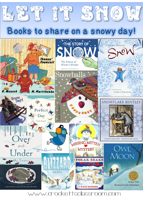 Snowy books to share with your class, many are linked to free activities.
