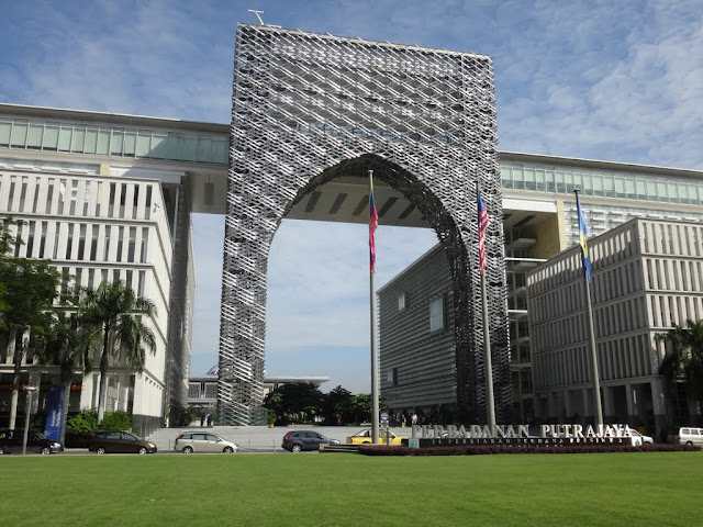 The side view of Perbadanan Government Complex in Putrajaya, Malaysia. The action scenes including shooting and cars chasing were filmed here for the recent Hong Kong action movie, The Viral Factor