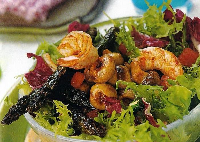alimentación, calorías, champiñón, ensalada, ensaladas, langostinos, recetas, sana