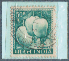 50P. INDIA Mangoes, India Postage Stamps with watermarks