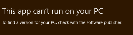 this app can't run on your pc