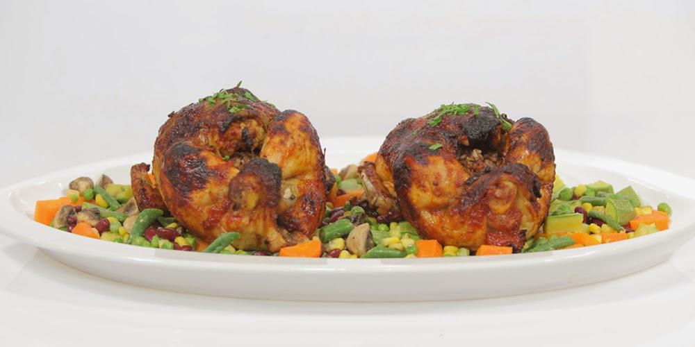 دجاج محشي بالأرز والبصل المكرمل
