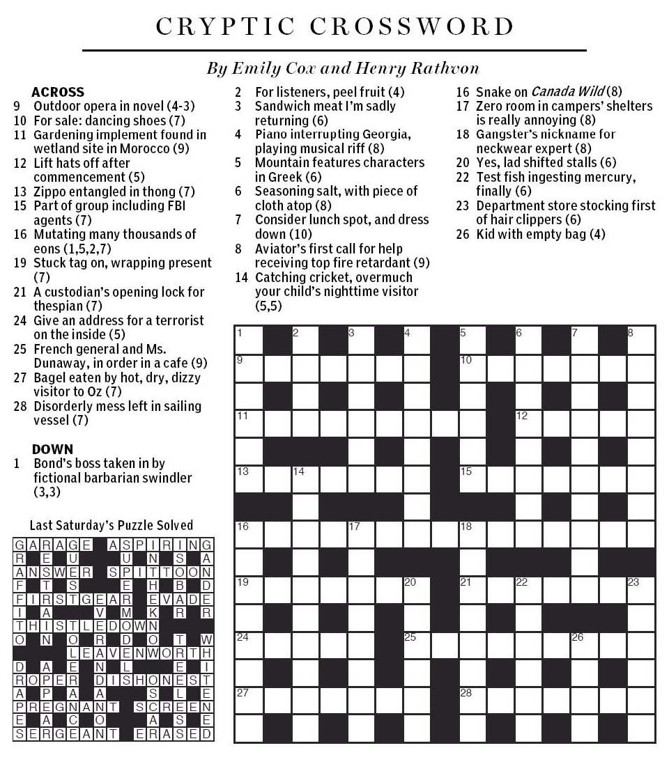 National Post Cryptic Crossword Forum Saturday July 4 2015