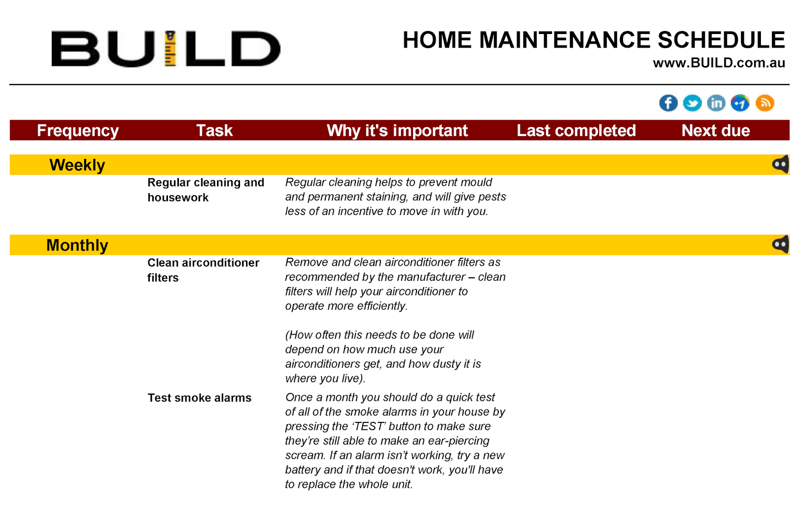 Build Home Maintenance Schedule Building The Waldorf 48