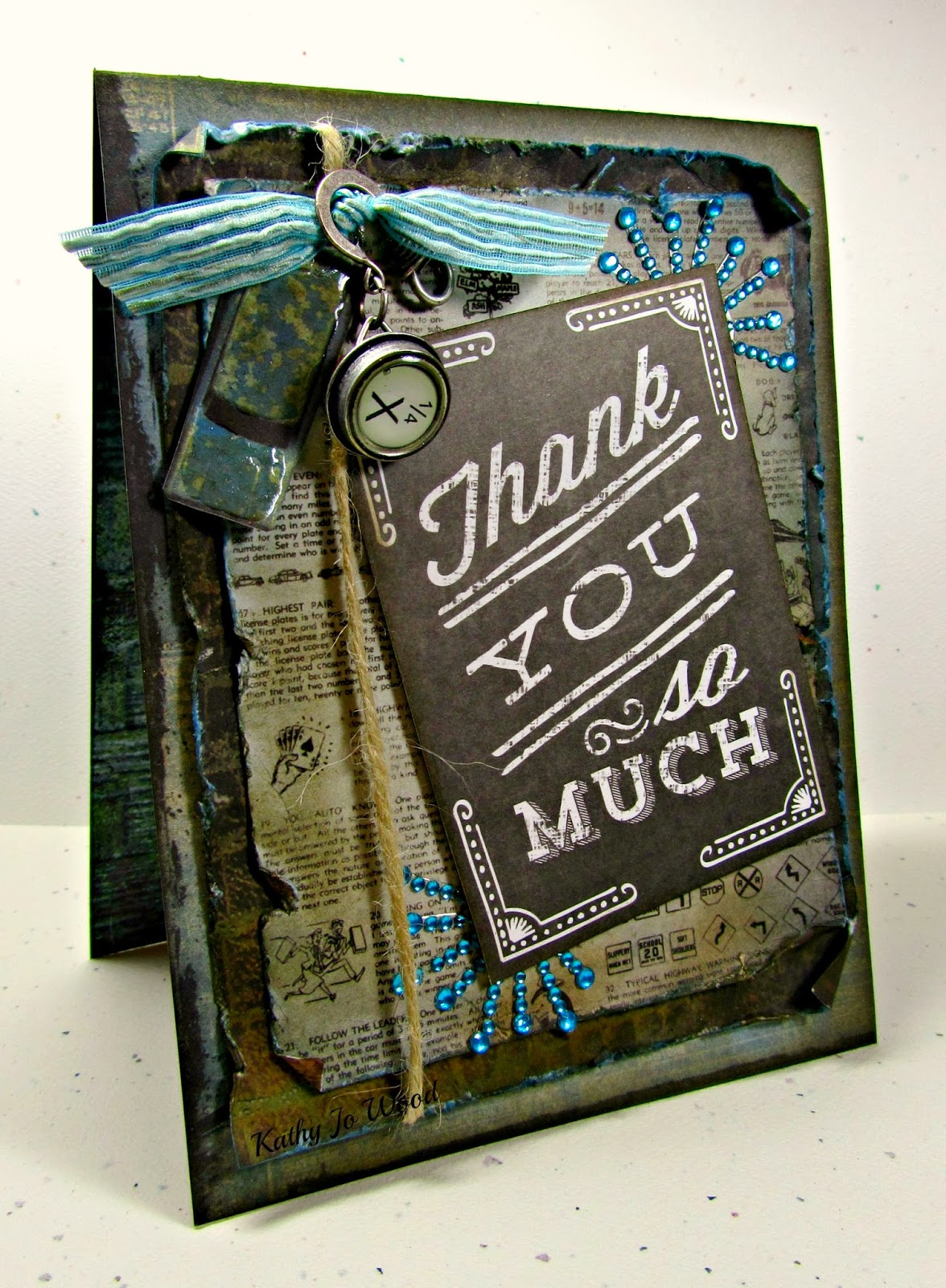 card, chalkboard, destinations, grunge, instant card, me & my big ideas, thank you, Tim Holtz,