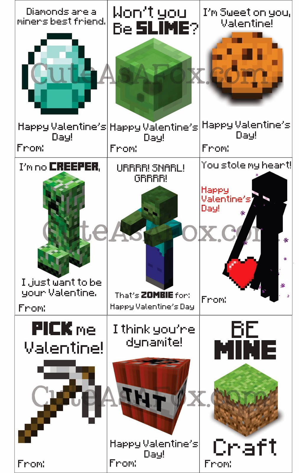 This is a graphic of Declarative Minecraft Printable Valentines