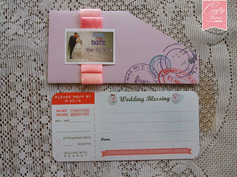 Lilac Purple Movie Ticket Themed and Save the Date Wedding Card Malaysia