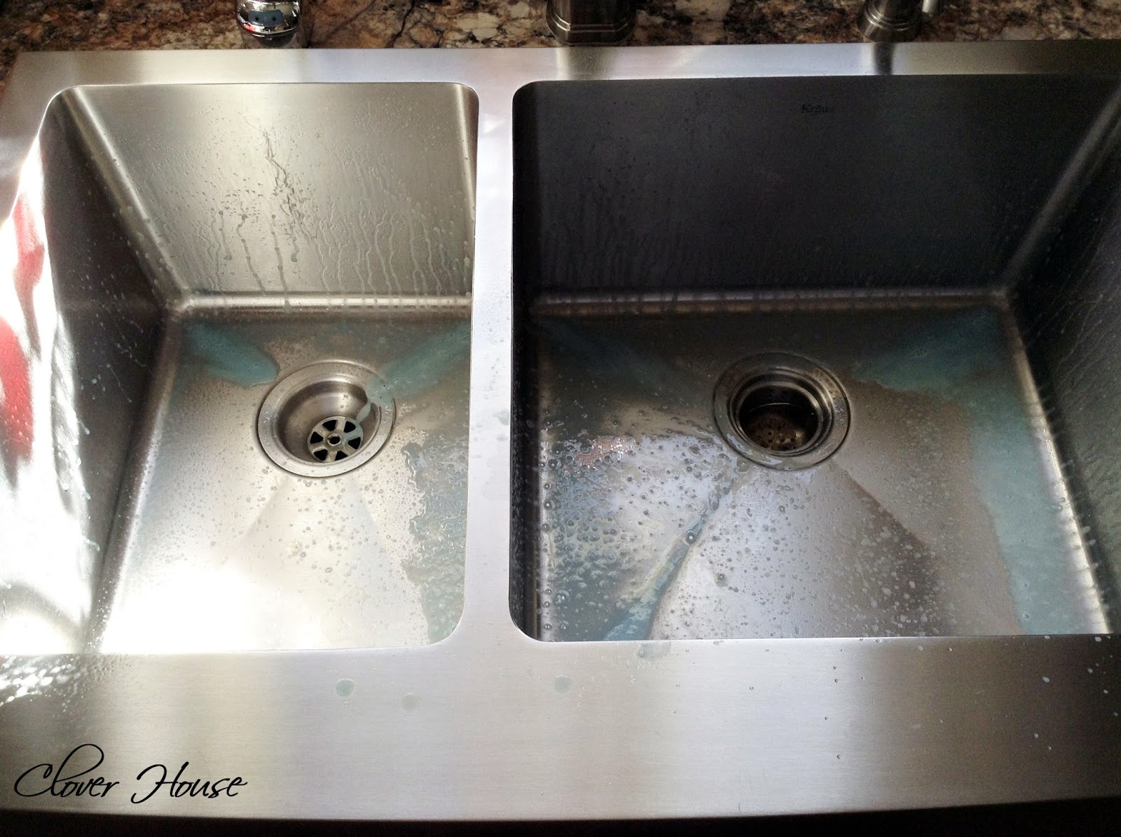 clover house: make your stainless sink shine - my natural secret